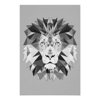 Silver Geometric Lions Head Poster