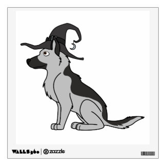 Silver German Shepherd with Witch Hat Wall Graphic