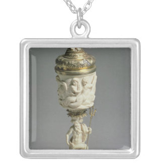 Silver gilt and carved ivory goblet square pendant necklace