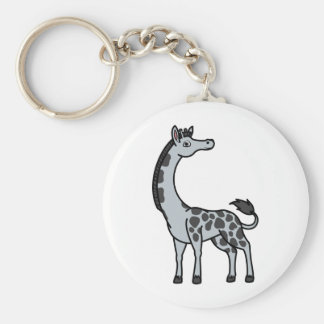 Silver Giraffe with Black Spots Keychain