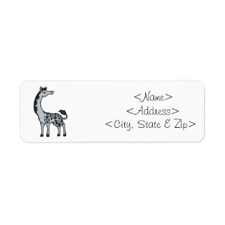 Silver Giraffe with Black Spots Label