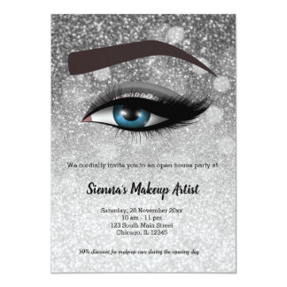 Silver glam lashes eyes | makeup artist card
