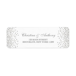 Silver Glam Wedding Confetti Return Address Labels