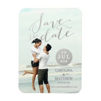 Silver Glamor | Photo Save the Date Magnet