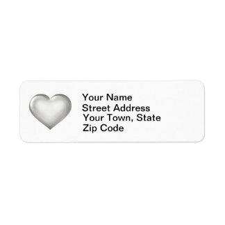 Silver glass heart label