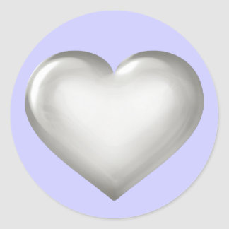 Silver glass heart on blue classic round sticker