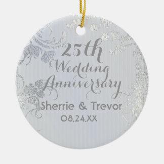 Silver Glimmer 25th Anniversary Ceramic Ornament