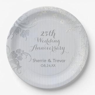 Silver Glimmer 25th Anniversary Paper Plate