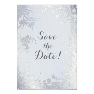 Silver Glimmer Floral Save The Date 3.5x5 Paper Invitation Card