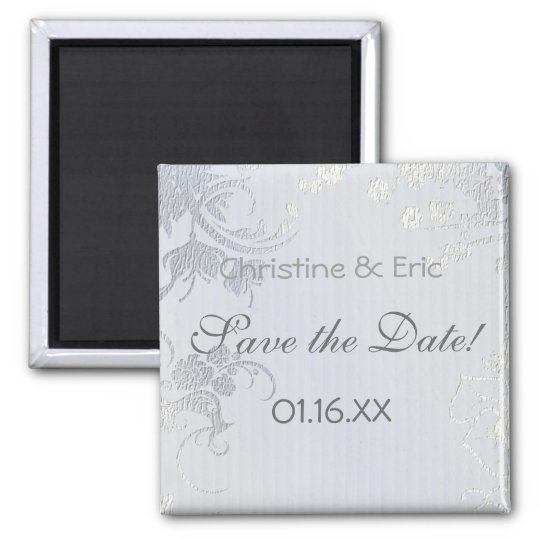 Silver Glimmer Save the Date 2 Inch Square Magnet