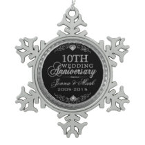 Silver Glitter 10th Wedding Anniversary Ornament
