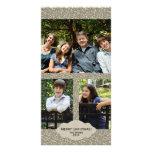 Silver Glitter Adjustable 3 Photo Christmas Card Custom Photo Card
