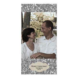 Silver Glitter Adjustable Photo Christmas Card Photo Card Template