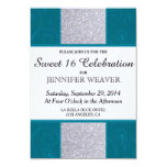 Silver Glitter and Aqua Teal with Swirly Design 3.5x5 Paper Invitation Card