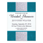 Silver Glitter and Aqua Teal with Swirly Design 5.5x7.5 Paper Invitation Card