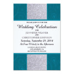 Silver Glitter and Aqua Teal with Swirly Design Announcement