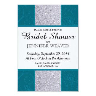 Silver Glitter and Aqua Teal with Swirly Design 3.5x5 Paper Invitation Card