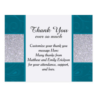 Silver Glitter and Aqua Teal with Swirly Design Postcard
