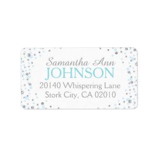 Silver Glitter and Blue Dot Sprinkles Label