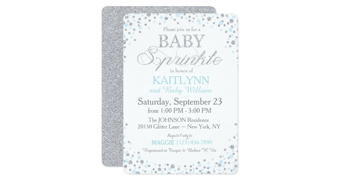 Silver Glitter and Blue Sprinkle Baby Shower Invitation