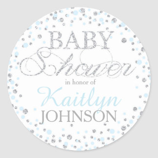 Silver Glitter and Blue Sprinkle Baby Shower Label Classic Round Sticker
