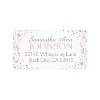 Silver Glitter and Pink Dot Sprinkles Label