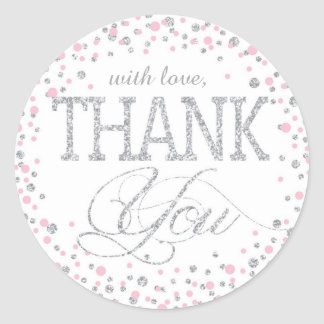 Silver Glitter and Pink Sprinkle Thank You Label Classic Round Sticker