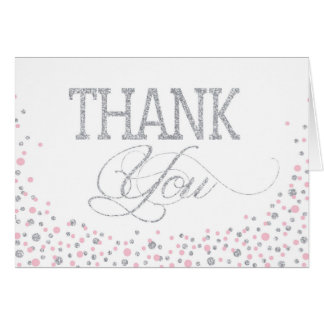Silver Glitter and Pink Sprinkles Thank You Card