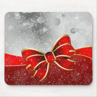 Silver Glitter And Red Christmas Sparkles Bow Mouse Pad