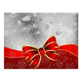 Silver Glitter And Red Christmas Sparkles Bow Post Cards