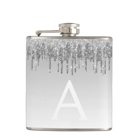 Silver Glitter and Sparkle Monogram Flask