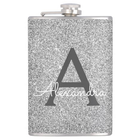 Silver Glitter and Sparkle Monogram Initial Flask