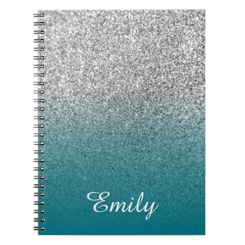 Silver Glitter and Teal Ombre Personalized Notebook
