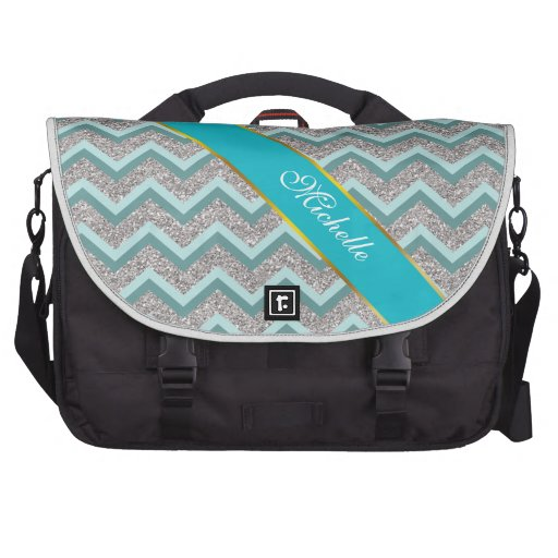Silver Glitter and Teal ZigZag Laptop Bag