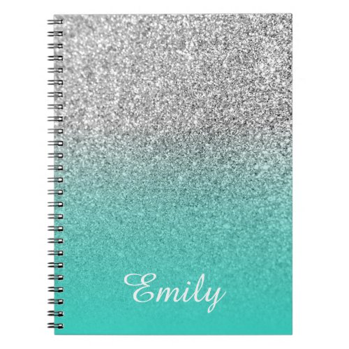Silver Glitter and Turquoise Ombre Personalized Notebook