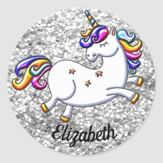 Silver Glitter and Unicorn Classic Round Sticker