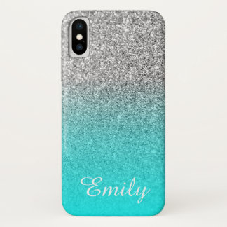 Silver Glitter Aqua Ombre Personalized iPhone X Case