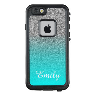 Silver Glitter Aqua Ombre Personalized LifeProof FRĒ iPhone 6/6s Case