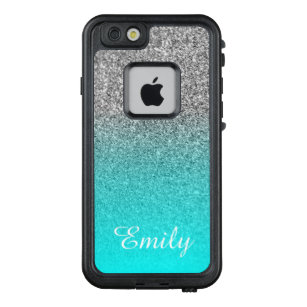 new style 907b9 814b0 Silver Glitter Aqua Ombre Personalized LifeProof FRĒ iPhone 6/6s Case