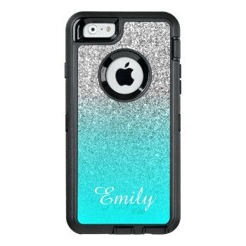 Silver Glitter Aqua Ombre Personalized Otterbox Defender Iphone Case by annaleeblysse at Zazzle