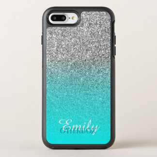 Silver Glitter Aqua Ombre Personalized OtterBox Symmetry iPhone 8 Plus/7 Plus Case