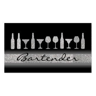 Silver glitter bartender drinks business card