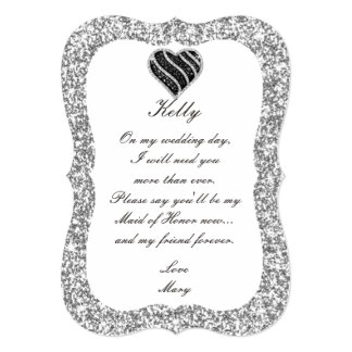 Silver Glitter Black Heart Maid Of Honor Card