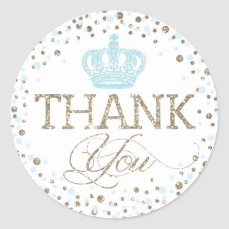Silver Glitter Blue Crown Royal Prince Baby Shower Classic Round Sticker