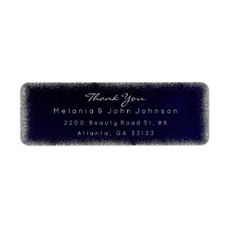 Silver Glitter Blue Navy Thank You RSVP Delicate Label