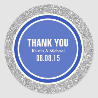 Silver Glitter & Blue Thank You Round Stickers