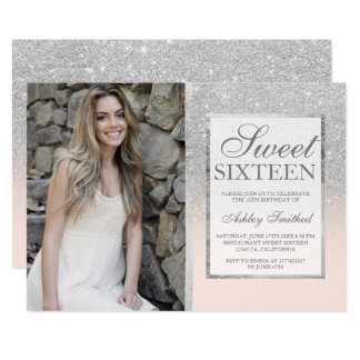 Silver glitter blush ombre photo Sweet 16 Card