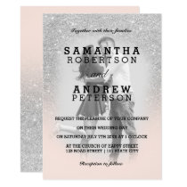 Silver glitter blush pink ombre photo wedding invitation