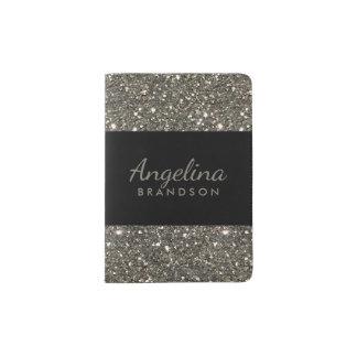 Silver Glitter Border Modern Black Passport Holder
