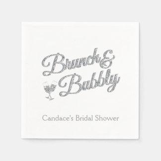 Silver Glitter, Bridal Shower Decorative Napkins